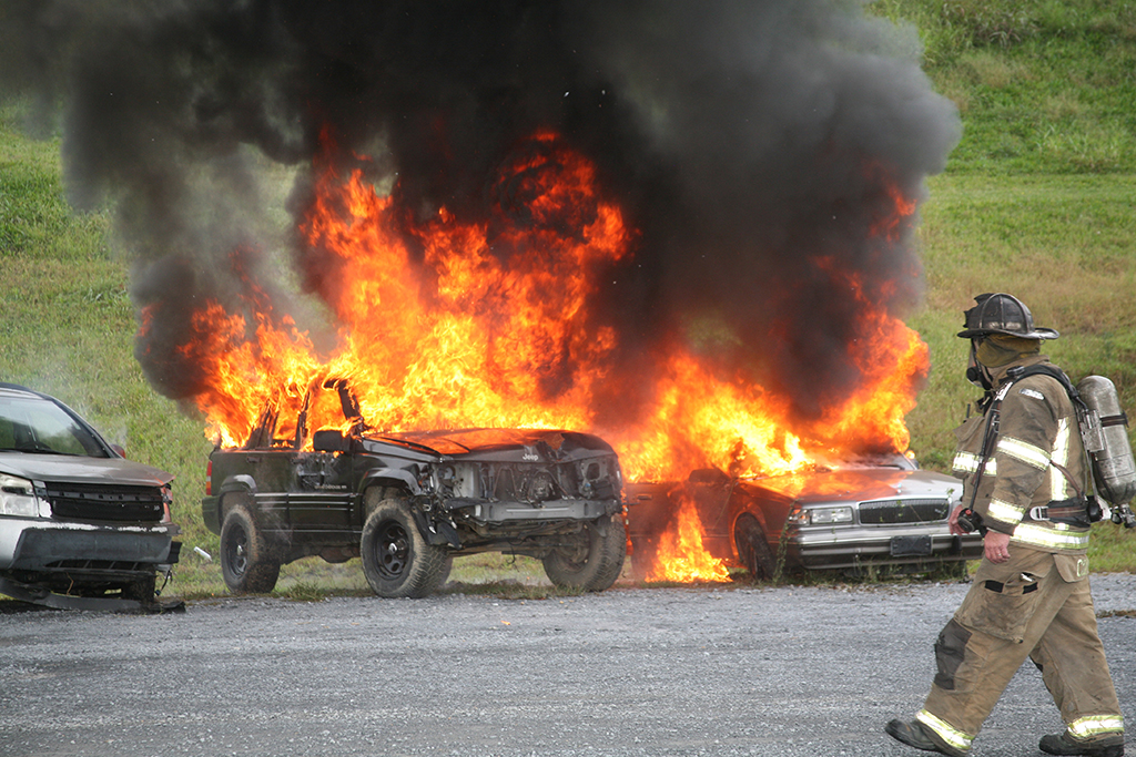 "Three cars were lit on fire as part of the Public Safety Training Exercise held on GNTC's Gordon County Campus. This was meant to simulate a disgruntled person coming to the college and creating a diversion. While firefighters were tending ""casualties"" and putting out the fire, one of the ""active shooters"" began opening gunfire on emergency personnel."