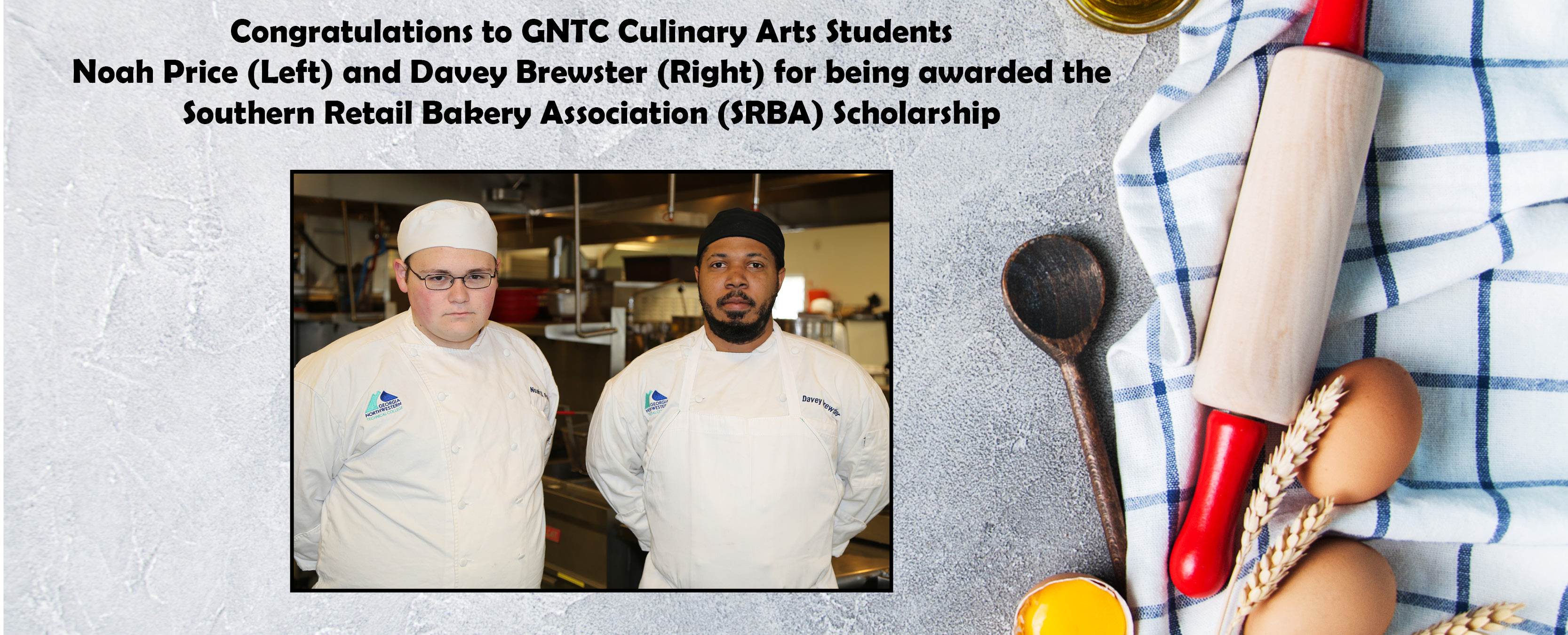 Culinary Arts Students (males) in aprons and chef hats pose.  There is also a rolling pin to the side, cracked and uncracked eggs and a white kitchen towel with blue stripes.