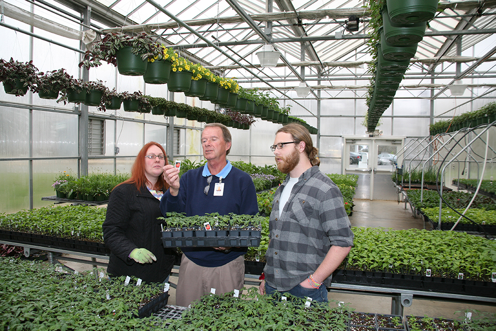 David Warren (center), director of GNTC's Horticulture program, inspects tomato plants that will be a part of GNTC's Spring Plant Sale with Shannon Bryant of Lafayette (left) and Morgan Lathem (right) of Chickamauga.