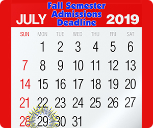 Fall Semester Admissions Deadline July 29, 2019