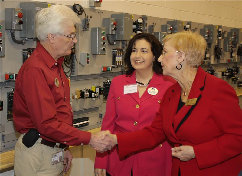 National publication 'STEM Jobs' magazine has featured Georgia Northwestern Technical College as one of the top schools in preparing for careers in Science, Technology, Engineering, and Math. First Lady of Georgia Sandra Deal, right, has previously toured the GNTC Whitfield Murray Campus' technology labs and classrooms. GNTC Electronics Technology instructor Ronald Turner, left, and Associate Vice President of Academic Affairs Dr. Ginger Mathis, middle, gave the First Lady a tour of the facilities during this visit.