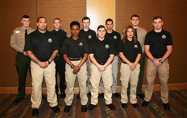 Graduates of Basic Law Enforcement Training Class #201602 are: Back row (from left to right) Thomas Williams, Bryce Momon, Brett Nesbitt, Micah Alexander, and Andrew Hooker. Front Row (from left to right) Joshua McFadden, Keasha Brown, Enrico Garcia, Vanessa Robledo, and Gabe Shipman.