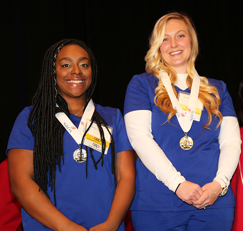 Kimberlee Hall (right) won the gold medal in Practical Nursing and Brittany Square (left) won the silver medal in Practical Nursing at the 2019 SkillsUSA Georgia competition.