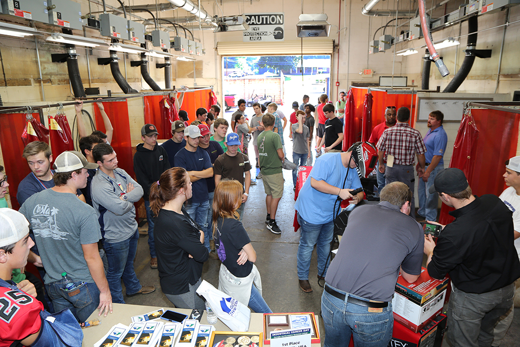The welding simulator attracted huge crowds at the 2018 Industrial Career Day on GNTC's Floyd County Campus.