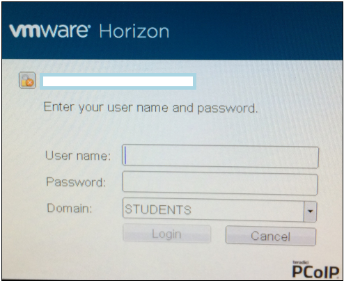 VMWare Horizen Login Box