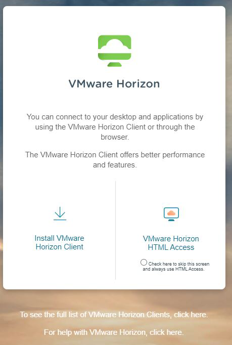 How to Access VMWare Horizon Desktop (VDI) from off-campus