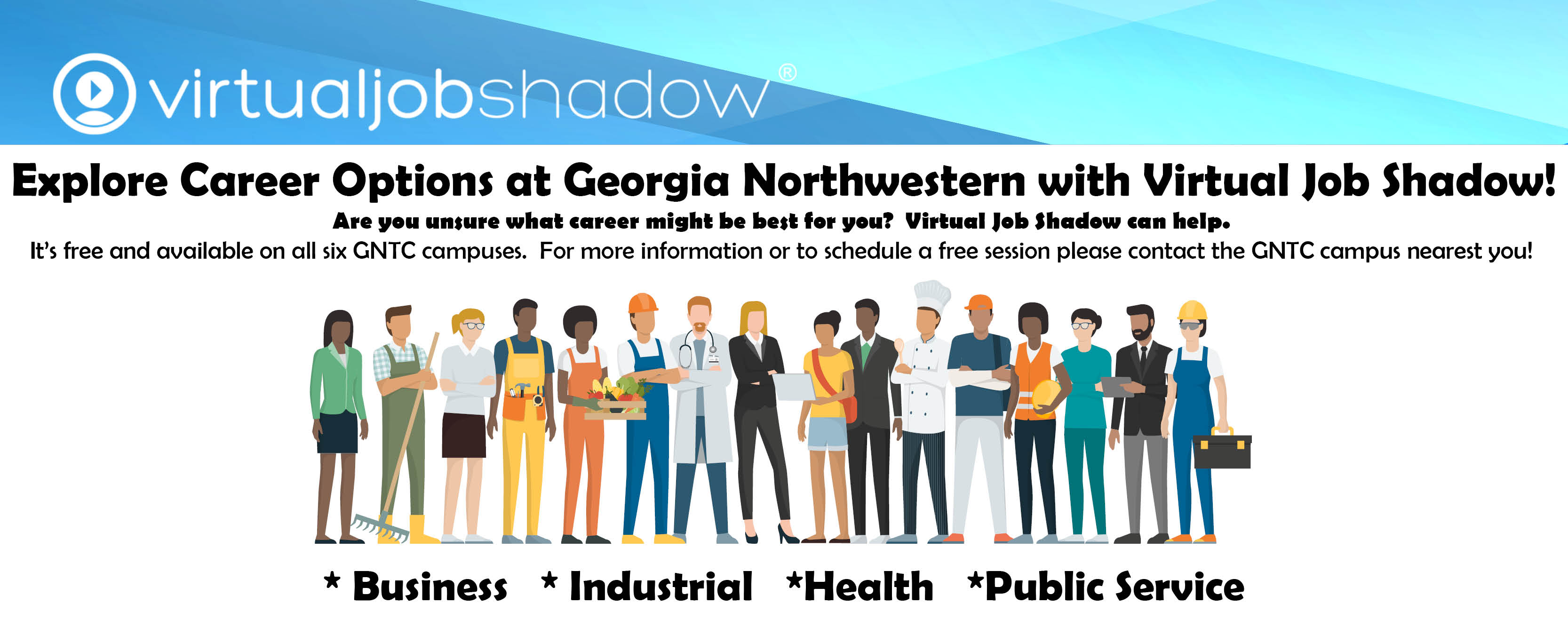 Photo of many people from different occupations standing side by side.  Virtual Job Shadow Logo at the top with a blue background.
