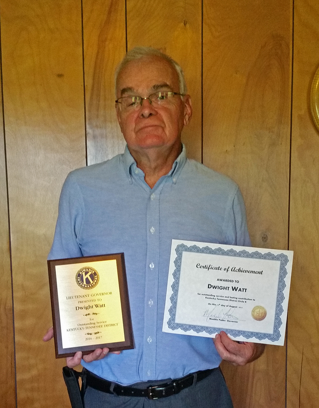 Dr. Dwight Watt shortly after receiving his awards for achievement for work with the Kentucky-Tennessee Regional Kiwanis Club Conference. The annual event was held for the 99th time this past summer. Louisville, Kentucky serves at the host site.