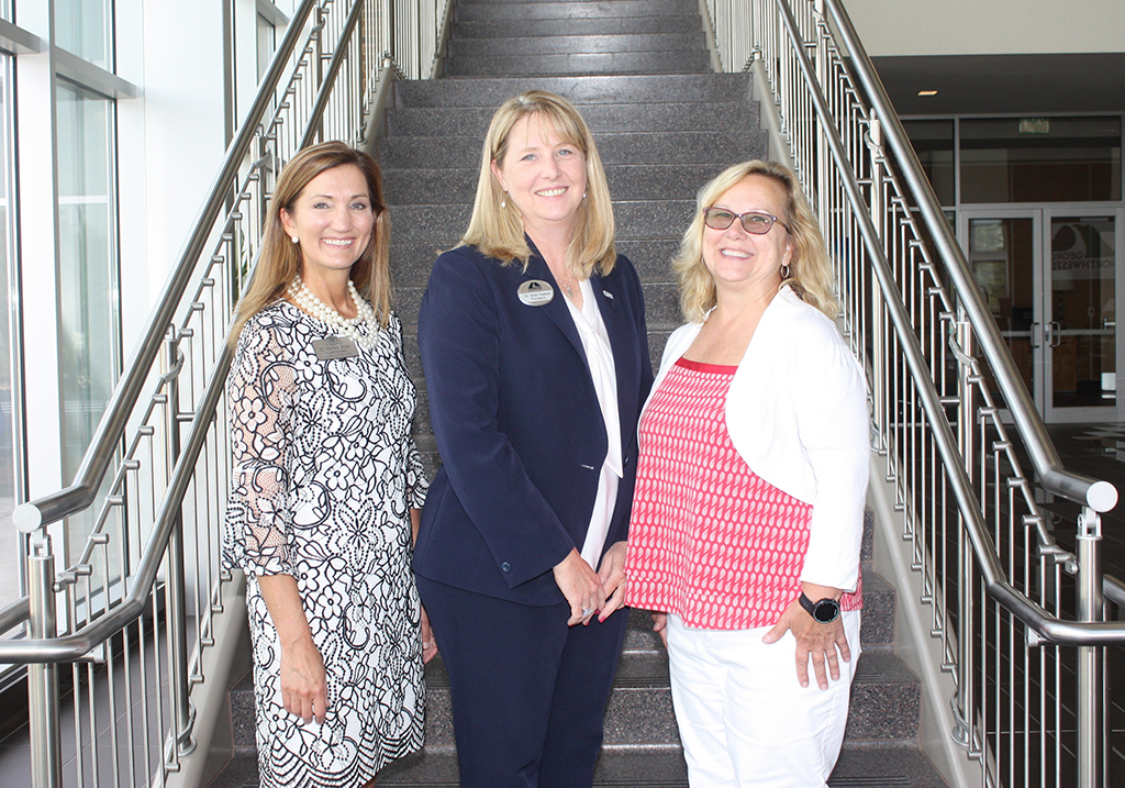 Board Vice-chair Michele W. Taylor (from left) stands with the President of GNTC Heidi Popham and Board Chair Rhonda Beasley in the atrium of the Gordon County Campus. The chair and vice-chair were recently selected to lead the GNTC Board of Directors during the 2020 fiscal year.