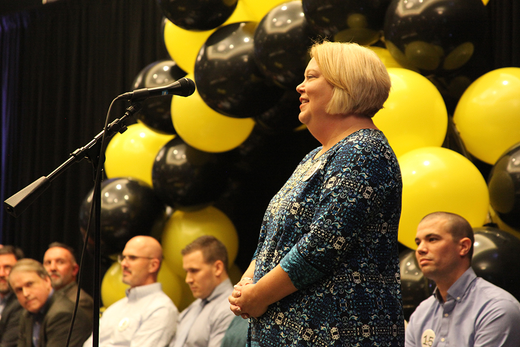 GNTC Vice President of Adult Education Lisa Shaw joined 19 Dalton area business, education and health care leaders during the Seventh Annual Celebrity Spelling Bee which raised funds for local students and educators through the Whitfield Education Foundation.