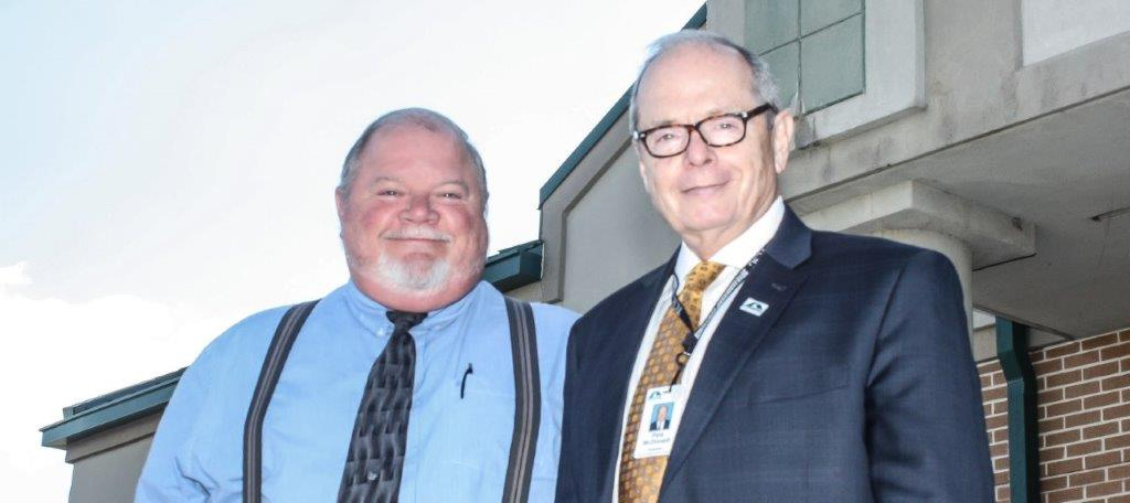 Dr. James Cantrell, left, from the Dade County Board of Education poses with Georgia Northwestern Technical College President Pete McDaniel after his swearing-in becoming the newest member of the GNTC Board of Directors