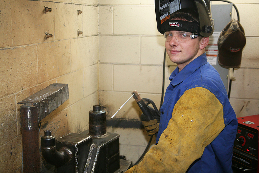 GNTC alumnus Ryan Fincher of Cedartown works on a project in the Welding lab on GNTC's Floyd County Campus in Rome.