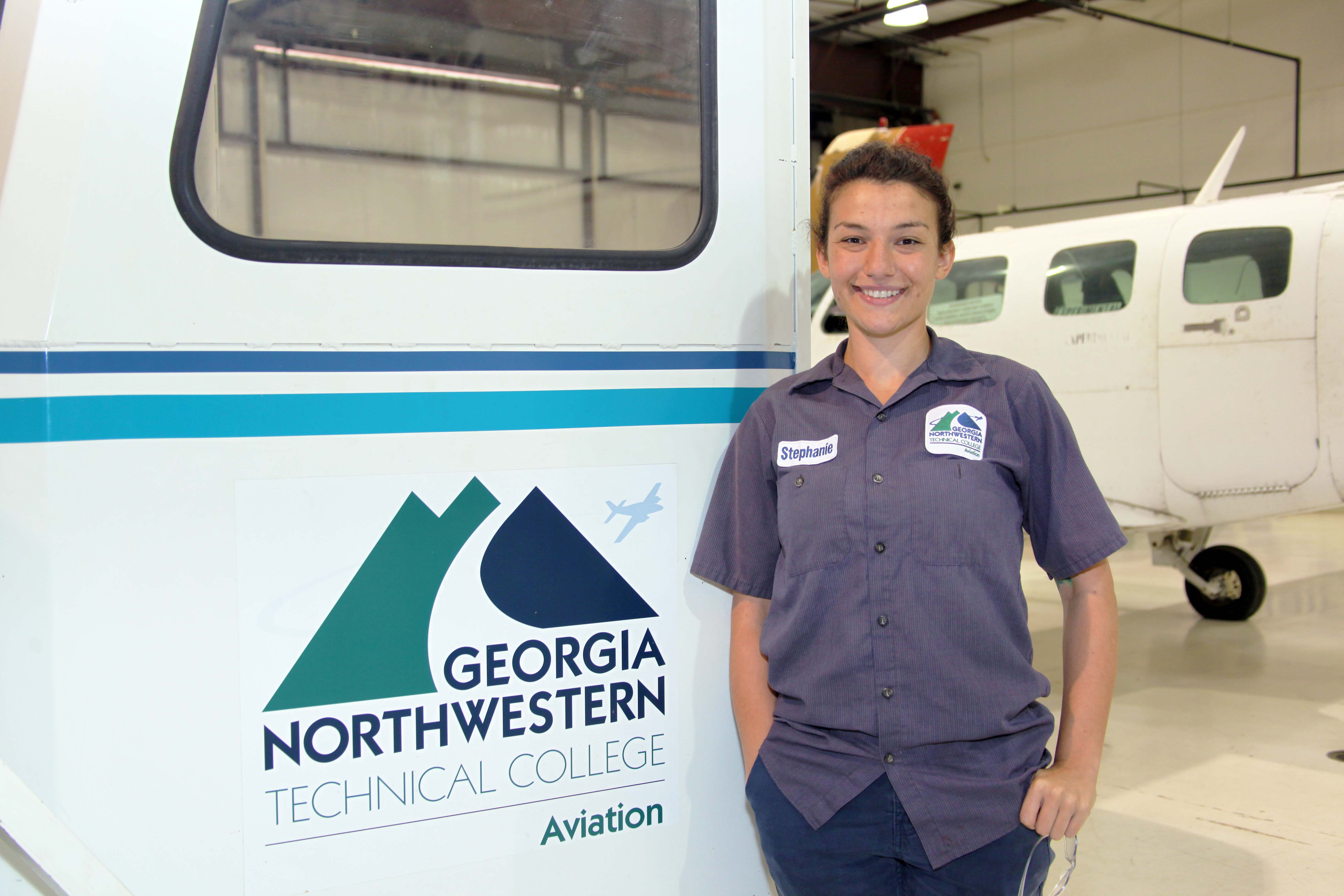 Aviation Maintenance Technology major Stephanie Tarbous received the $5,000 Delta Air Lines Aircraft Maintenance Technology Scholarship to help with her education at GNTC.