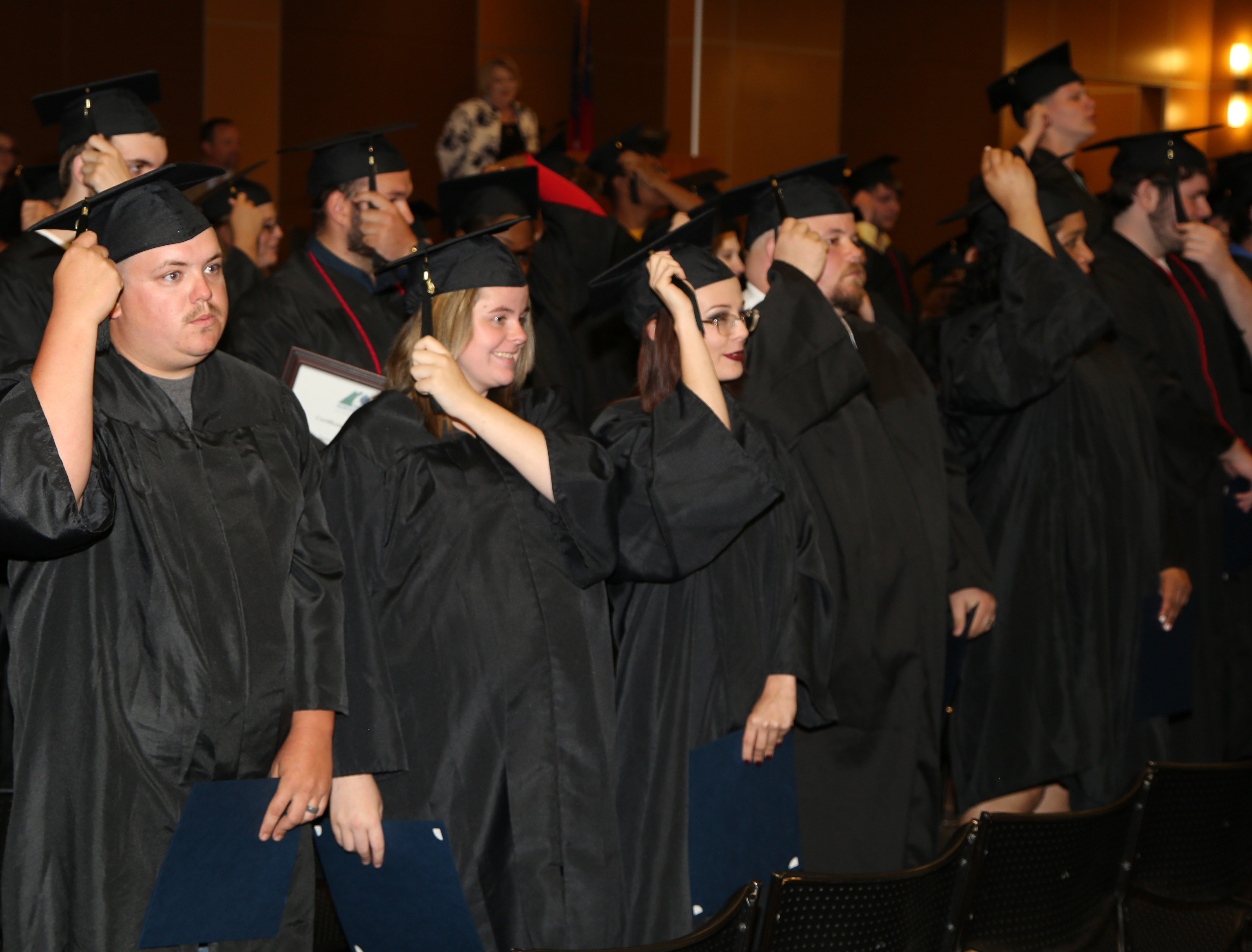 Graduates turn the tassels during GNTC's 2018-19 GED® Commencement Ceremony on Thursday, May 16.